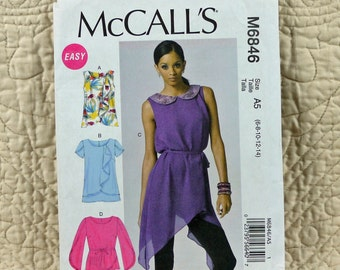 Top Tunic, XS S M L XL, McCalls M6846 Pattern, Pullover, Back Loop, Overlap, 2013 Uncut, Size 6 8 10 12 14 or 14 16 18 20 22