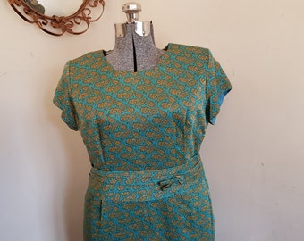 Vintage Leaf Print Wiggle Dress Plus Size