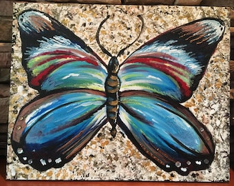 Large Surreal Butterfly Acrylic Painting 16x20 With Crystals