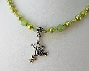 Silver Leaping Frog beaded necklace w/ green freshwater pearls and crystal beads