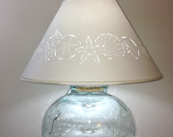 Fillable Bean Jar Lamp With Seashell Cut Lampshade Fillable Lamp Recycled  Glass Lamp
