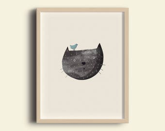 Cat with Blue Bird illustration - A4 print