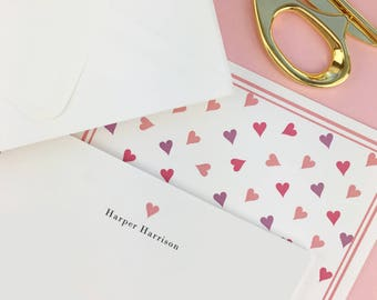 Personalized Stationery Note Card Set, Thank You Notes, Personalized note cards, Preppy, Classic, for Girls, Hearts , Boxed Set of 10
