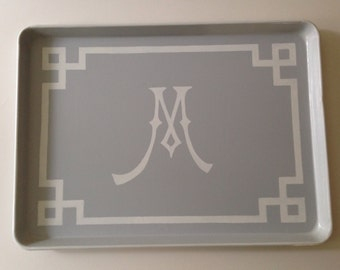 XL white Chinoiserie initial gray ottoman tray