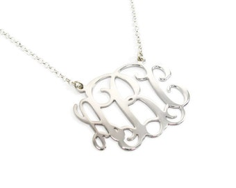 """1"""" sterling silver monogram necklace. Silver initial necklace. Initial monogram. Monogram jewelry. Initial jewelry. Silver necklace. gifts"""