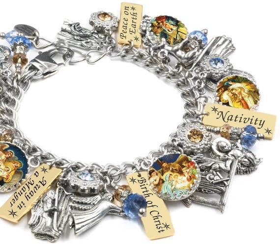 Christian Charm Bracelets: Nativity Christmas Jewelry Religious Jewelry Nativity