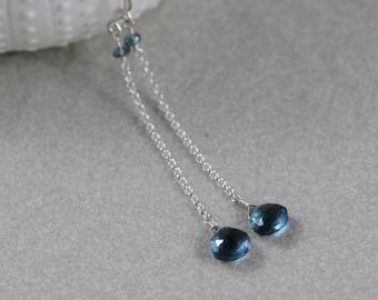 London Blue Topaz Earrings Sterling Silver Long Dangly Chain November Birthstone Semiprecious Gemstone Elegant - Allure