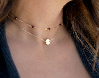 Birthstone Choker Necklace, Dainty Gold Necklace, 14k Gold Fill, Sterling Silver, Simple Choker Necklace, LEILAjewelryshop, N242