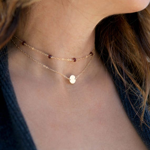 Birthstone Choker Necklace, Dainty Gold Necklace, 14k Gold Fill, Sterling Silver, Simple Choker Necklace, Leil Ajewelryshop, N242 by Etsy