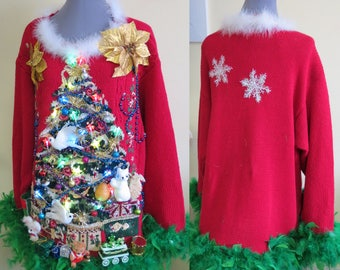 2 Turtle Doves, a Pear & a Squirrel  in a Christmas Tree Tacky Ugly Christmas Sweater Mini Dress Light UP Sweater, Plus Size  Sz 22/24 2X