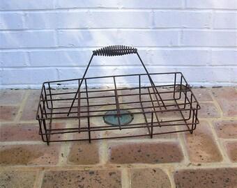 Antique Vintage Metal Basket Antique Primitive Basket With Metal Handle Old Farmhouse Basket
