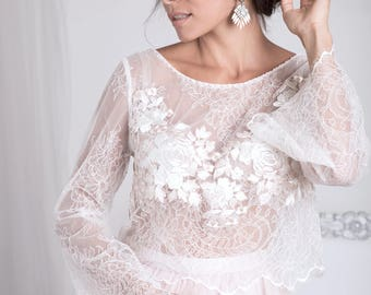 Wedding top,Bridal Lace Top,Bridal Crop Top,Wedding Separates,Bridal Lace Top,Sheer Top - Rose