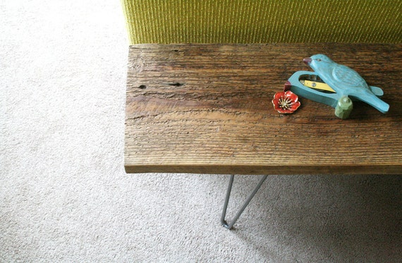 Reclaimed Wood Bench With Hairpin Legs Reclaimed Elemental