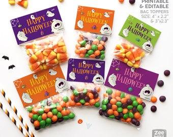 Halloween bag topper, Halloween treat bag topper, halloween, PRINTABLE, halloween decor, Ghosts, treat bag, DIY