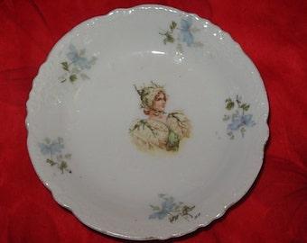 Vintage Porcelain Bowl Nymph Lady Yellow Roses Blue Flowers Decorative Relief