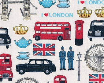 REMNANT London Revisited Britain's Best British Iconic Landmark London Union Jack Travel Cotton Fabric by Makower