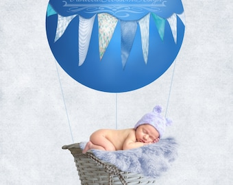 Balloon Basket blue boy newborn photography photo shoot background backdrop 18x18inches 300DPI