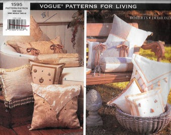 Vogue 1595 Designer Robert Domond 8 Different Square 2 Rectangular And 2 Roll Pillow Sewing Pattern