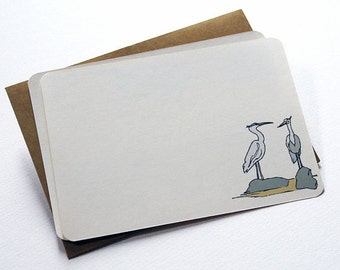 A Pair of Herons Notecard Set in Cream and Gray - Set of 6 Flat Notecards and Kraft Envelopes