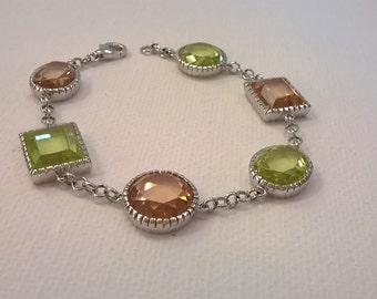 Vintage Sterling Silver and Crystal Bracelet - Light Green and Light Copper Colored Crystals - Chain Bracelet