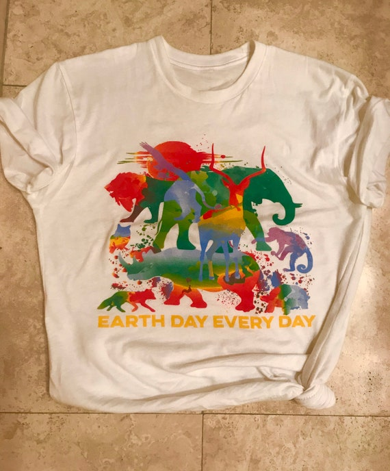 Everyday is Earth Day T Shirt Animal Print Unisex White Ringspun