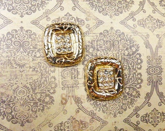 Vintage Rhinestone Square Clip Earrings - V-EAR-644 - Square Rhinestone Clip Earrings - Rhinestone Earrings - Square Earrings