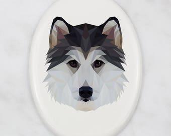 A ceramic tombstone plaque with a Siberian Husky dog. Art-Dog geometric dog