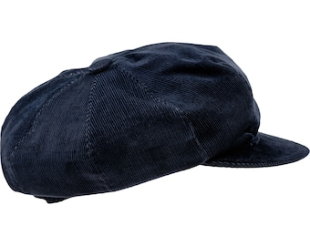 VIGO - Newsboy Peaked Cap made of Corduroy (cotton) - navy blue