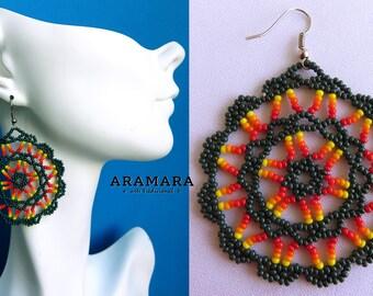 Mandala Earrings, Mexican Jewelry, Mexican folk art, Native american earrings, Mexican earrings, Round earring, Huichol Earrings, AR-0155