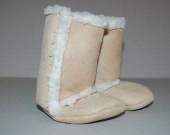 Natural Sherpa Suede Baby Boots - 3 months - 2T