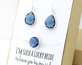 Navy Blue / Silver Teardrop Earring and Circle Bracelet Set - Bridesmaid Earring and Bracelet Set - Navy Blue Bridesmaid Jewelry Set - EBB1