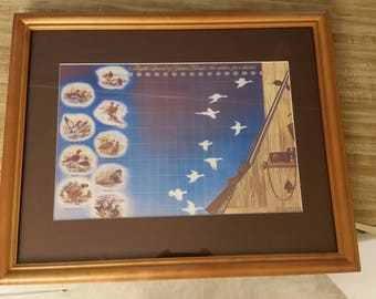 vintage wood framed litho print - flight speed of game birds - matted hunting picture wall hanging photo shotgun hunter duck pheasant mph