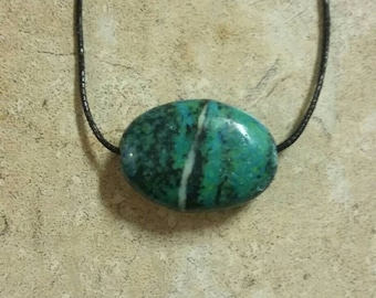Simple Chrysocolla Genuine Gemstone Necklace