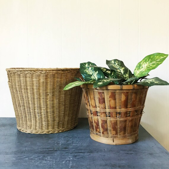 bamboo planter baskets - medium size plant basket - woven round rattan - boho home storage