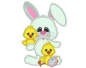 Bunny With Little Chicks Applique Machine Embroidery Digitized  Design Pattern - Instant Download - 4x4, 5x7, 6x10