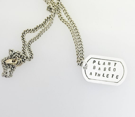 Plant Based Athlete Dog Tag Unisex necklace-Vegan Necklace-Vegan Gift-Men's Jewelry-Dog Tag necklace-Customizable-Birthday-Veganniversary