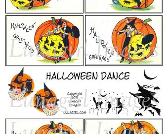 HALLOWEEN DANCE digital collage sheet vintage witches dancing pumpkins black cats Victorian cards altered art ephemera scrapbooking DOWNLOAD