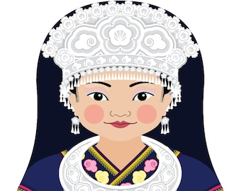 Miao Chinese Wall Art Print featuring culturally traditional dress drawn in a Russian matryoshka nesting doll shape