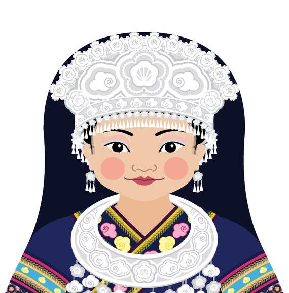 Miao Chinese Doll Art Print with traditional dress, matryoshka