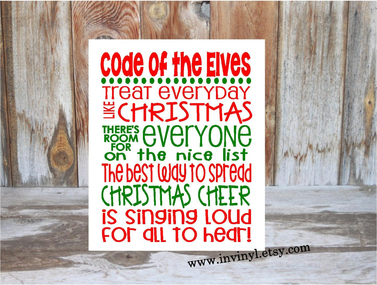 ELF inspired CHRISTMAS Rules Code of the Elves wood