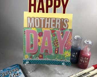 Mother Day card, Mom card, love mom, hand made, thank you mom,