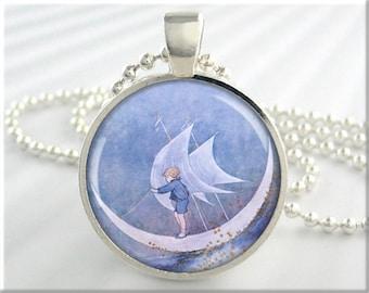 Sailing Moon Necklace, Ida Rentoul Outhwaite Art Pendant, Fairy Tale Charm, Fantasy Art Charm, Round Silver, Gift Under 20 (480RS)