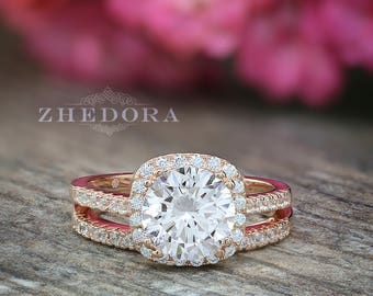 Square Halo Engagement Ring Round Cut Wedding Ring Rose Gold Plated Silver Bridal Set Round Cut Ring Matching Band Square halo Wedding Set