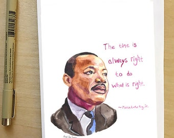 Martin Luther King Jr. portrait and Inspiring quote, 5x7 card, Ready to Ship