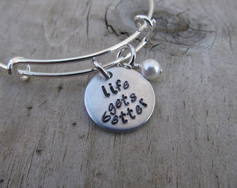 """Life Gets Better Bracelet- Inspiration Bracelet- Hand-Stamped """"life gets better"""" Bracelet with an accent bead in your choice of colors"""