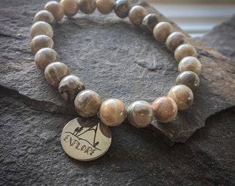 Adventure Awaits Bracelet, Mala Bracelet, Mountain Bracelet, Calgary Seller, Jasper Bracelet, Bracelet Femme, Explore, Explorer, Jasper,