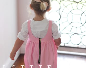 The Peony Zipper Dress - toddler dress - girls dress - pink dress - zipper back - lottie clothing - kids dress - childrens dress