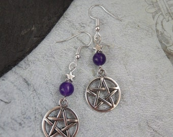 Gothic Tibetan Silver Pentagram Purple Agate Gemstone/Star Earrings Pagan UK