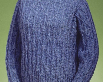 PDF Knitting Pattern Twisted Cable and Diamond Turtleneck #122