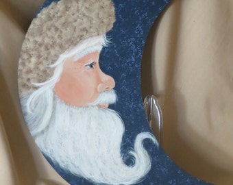 Hand painted half moon with Santa face with long beard